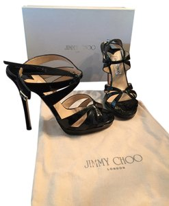Jimmy Choo Black Patent Leather Sandals