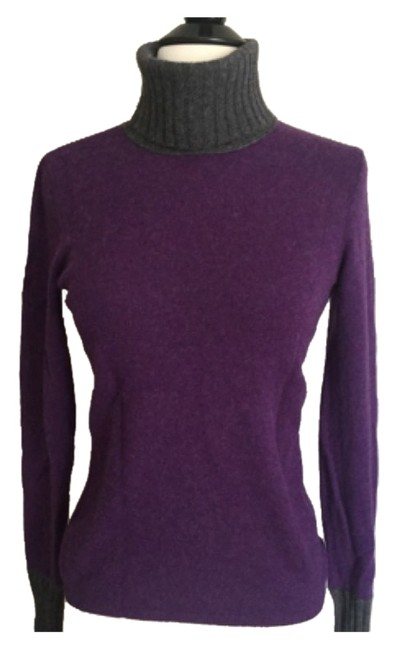 Magaschoni Cashmere Purple with Gray Sweater Magaschoni Cashmere Purple with Gray Sweater Image 1