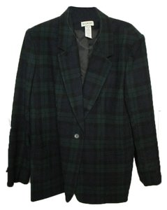White Stag Navy blue and dark green plaid wool blazer