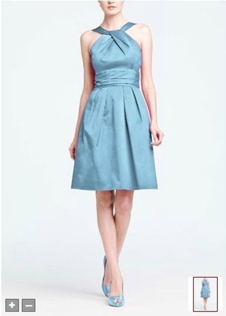 Item - Blue Cotton Short Y-neck and Skirt Pleating Formal Bridesmaid/Mob Dress Size 6 (S)