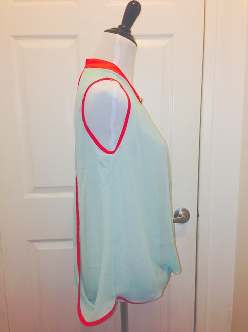 Finn & Clover Urban Outfitters Wrap Wrap Shirt Sheer Sheer Designer Luxury Luxe Top Mint/Hot Pink
