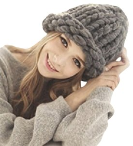 HELSINKI Finland Style Warm Chunky Big Yarn Knitted Gray Beanie Winter Cap Hat