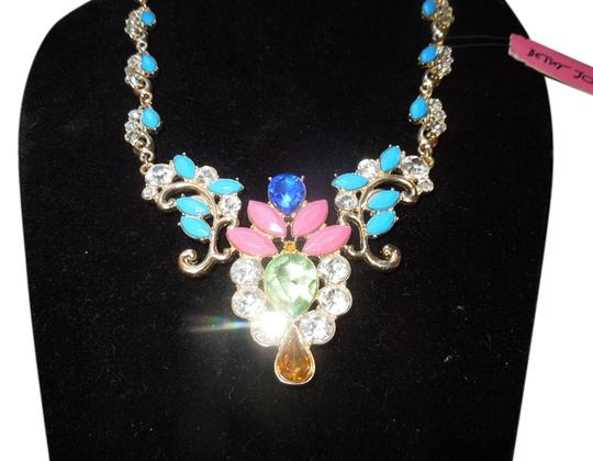 Preload https://img-static.tradesy.com/item/7315828/betsey-johnson-gold-tone-blue-green-pick-crystal-statement-necklace-0-1-540-540.jpg