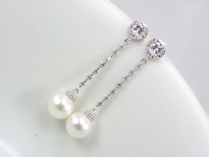 Pearl Bridal Earrings Swarovski Pearls Cubic Zirconia Sterling Silver Posts Wedding Jewelry Bridesmaid Gift
