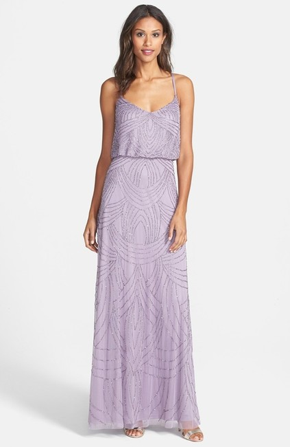 Item - Dusty Orchid Polyester Beaded Gown Formal Bridesmaid/Mob Dress Size 10 (M)