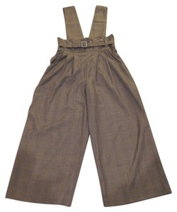 Size Can Be S - M Suspenders Baggy Pants Brown