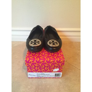 Tory Burch Ballet Reva Leather Classic Black/Silver Flats