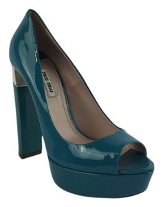 Miu Miu Pump Peep Toe Dark Turquoise Pumps