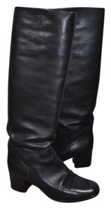 Chanel Leather 38.5 Black Boots