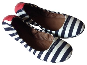 Lucky Brand Striped Elastic Blue and White Flats