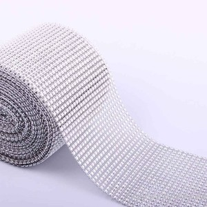 Silver - 30 Feet 24 Rows Diamond Mesh Wrap Roll Rhinestone Crystal Looking Ribbon Trim Wedding 10 Yards