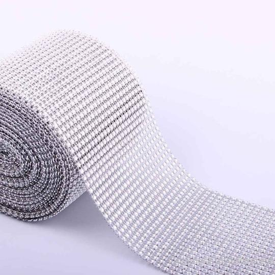 Silver 30 Feet 24 Rows Diamond Mesh Wrap Roll Rhinestone Crystal Looking Ribbon Trim Yards