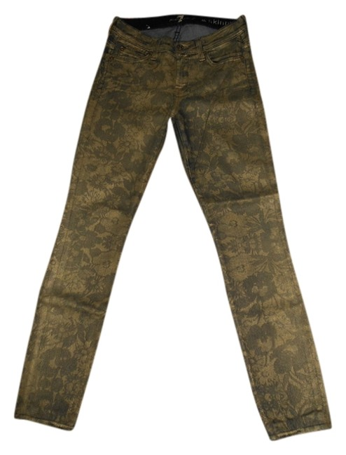 Preload https://img-static.tradesy.com/item/732060/7-for-all-mankind-goldarmy-green-coated-floral-skinny-jeans-size-25-2-xs-0-0-650-650.jpg