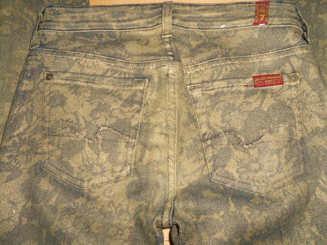 7 For All Mankind Size 25 Coated Floral Skinny Jeans-Coated