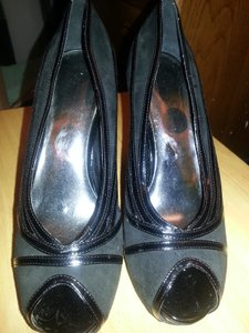 Jessica Simpson Suede Patent Leather Black Sandals