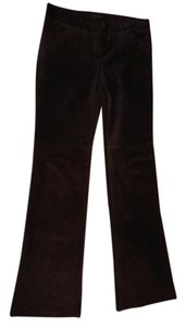 7 For All Mankind Suede Leather Flare Pants REDDISH BROWN