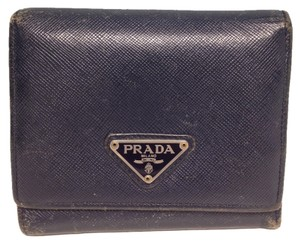 Prada Prada #3180 saffiano leather navy blue Wallet trifold compact Wallet Pocket Bill Holder Card Case Coin Purse
