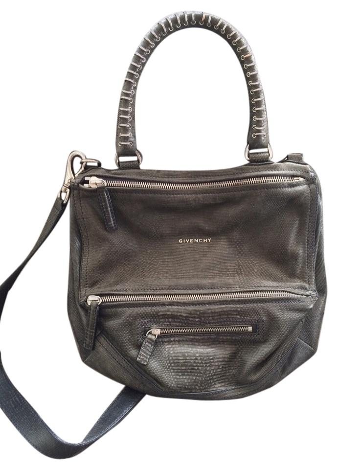 f48f6846649 Givenchy Medium Pandora Limited Edition Dusty Navy Blue Stamped Leather  Embossed Lizard Satchel