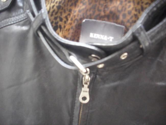 Kenna-T Leopard Motorcycle black, leopard-lined Leather Jacket
