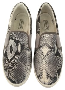 Topshop Faux Snake Skin (Gray, Black and White) Flats