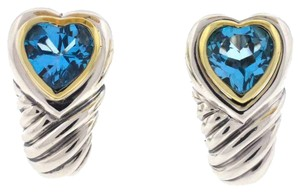David Yurman David Yurman Two Tone Sterling Silver 14k Gold Cable Blue Topaz Heart Earrings