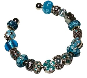 Other New European Charm Bracelet + 18 Removable Charms Blue Silver J1359