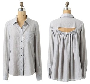 Anthropologie Button Down Shirt Grey Pinstripe