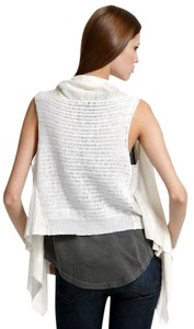 Theory Crochet Top cream linen 'sleeveless cardigan'