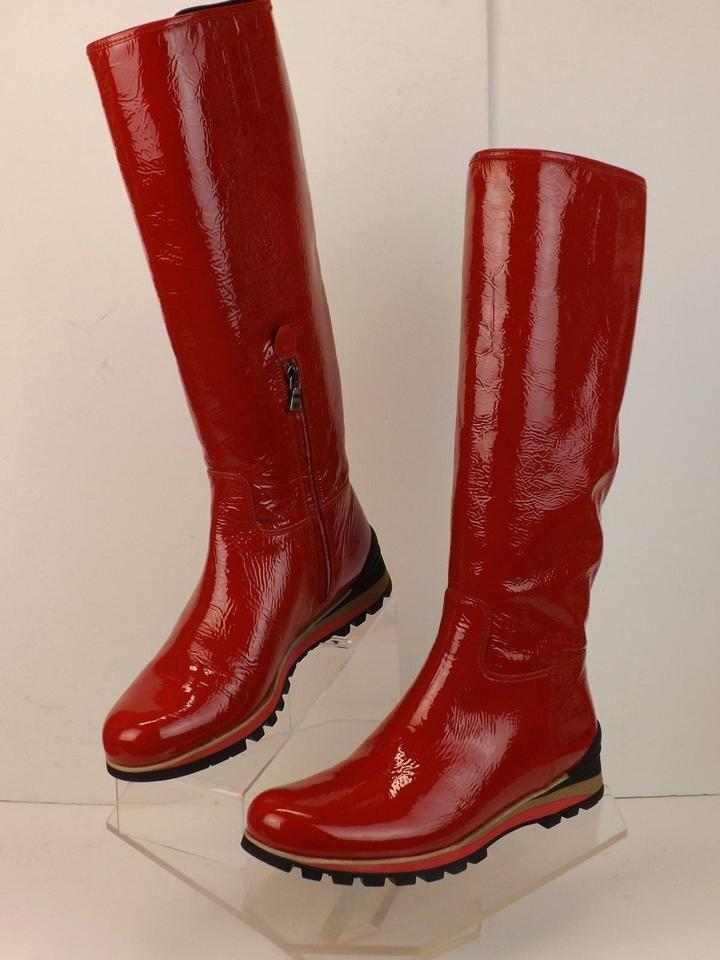 efa6f5b0676 Prada Red Crackle Patent Leather Knee High Lug Sole Riding Zip  Boots/Booties Size US 9 Regular (M, B) 40% off retail