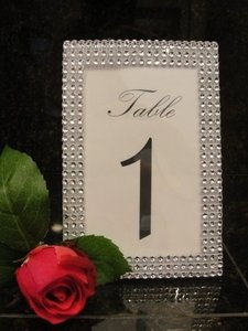 7 Silver Tone Bling Rhinestone Diamond Mesh Table Number Frame / Photo 4