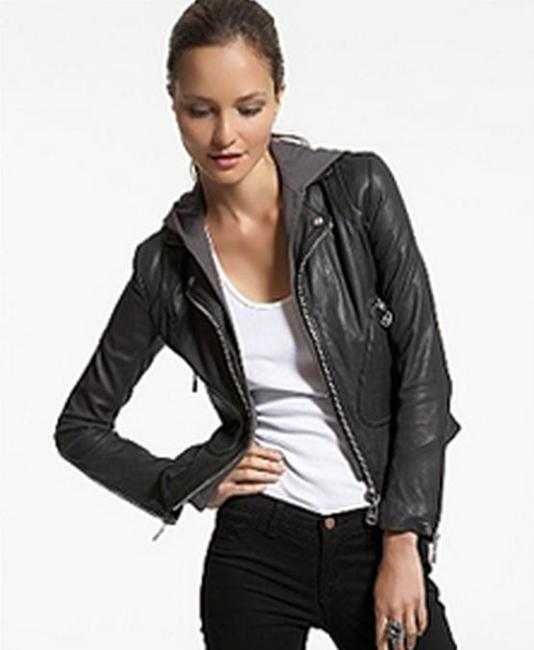 DOMA Black removable hoodie Leather Jacket