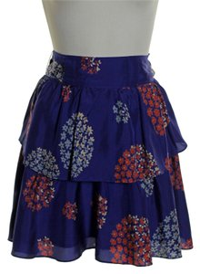 Odille 100% Silk Floral Layered Mini Skirt Purple