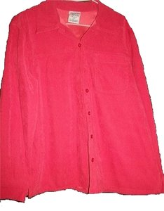 Allison Daley Longsleeve Women's 10 Petite Button Down Shirt Red