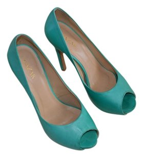 GAZAR Peep Toe Pums Leather Aqua Pumps