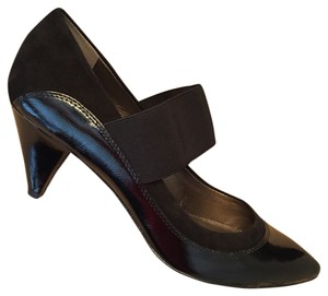 Circa Joan & David Patent Leather Suede Black Pumps