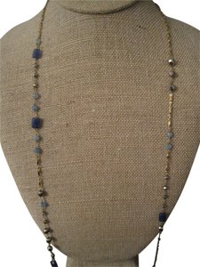 Stella & Dot Stella and Dot lapis beaded gold necklace with lobster clasp