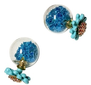 Other New Double Sided Ball Flower Stud Earrings Blue Yellow J1362