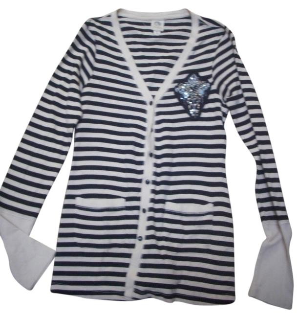 Preload https://item2.tradesy.com/images/anthropologie-blackwhite-stripe-with-light-blue-beaded-emblem-navy-embellished-detail-cardigan-size--732601-0-0.jpg?width=400&height=650