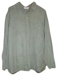 Studio Works Women's Size Medium Longsleeve (pea) Color 100% Polyester Button Down Shirt Green