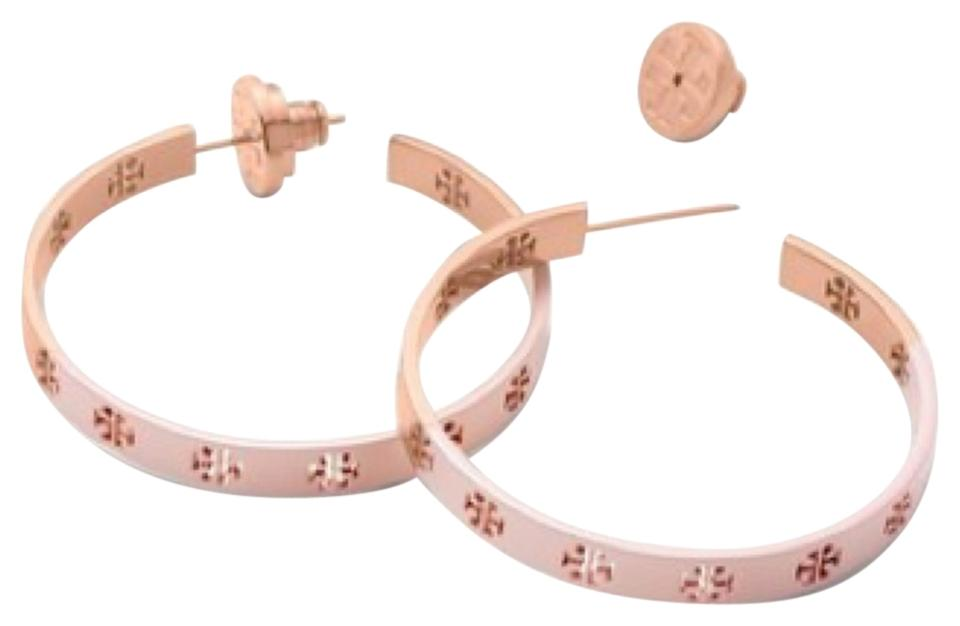 c5cded53362a Tory Burch Pink and Gold T Dipped Pierced-t Hoop Earrings - Tradesy