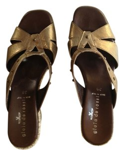 Gioia de Rossi Metallic Leather Studded 3 Burnished Gold Sandals