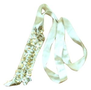 Gap White silk wrap belt with moon charms