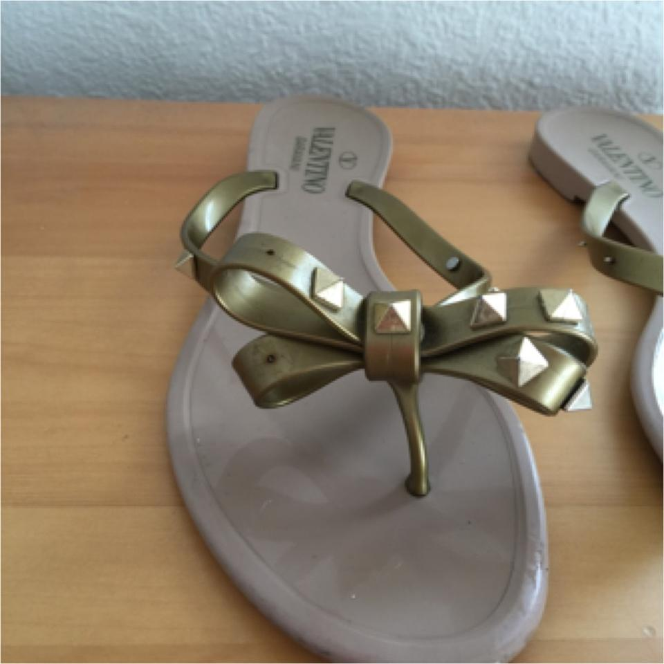 Valentino Gold Tan Beige Jelly Stud Bow Flip Flop Sandals Size Us 8