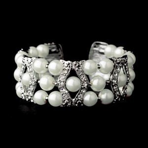 Elegance By Carbonneau White Pearl And Crystal Wedding Bracelet