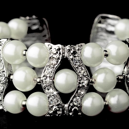 Elegance by Carbonneau Silver/White Pearl and Crystal Bracelet