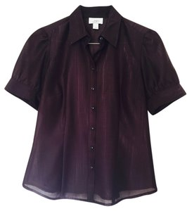 Ann Taylor LOFT Sheer Short-sleeve Button Front Top Brown