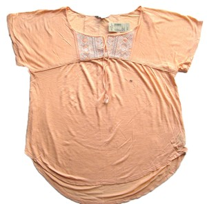 American Eagle Outfitters Embroidered Peasant T Shirt Peach