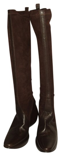 Stephane Kelian France French Leather Suede Pull Up Stretch Platform Brown Boots