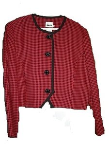 Leslie Fay Women's Size 14 100% Rayon Made In Usa Button Down Shirt Red and Black Diamonds