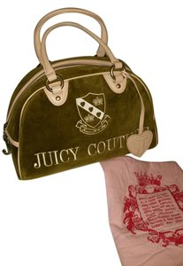 Juicy Couture Satchel in Green Suede with light pink leather